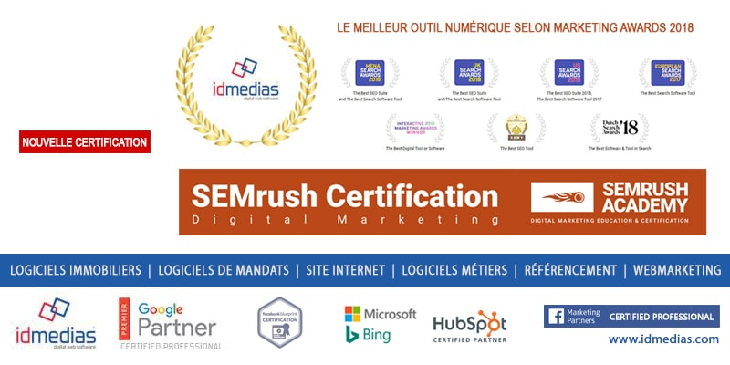 Idmedias certifiée SEMrush le meilleur du marketing digital